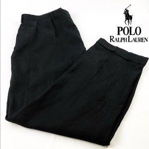 Black Pleated Linen Dress Pants Black size 40 x 32